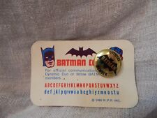 Vintage 1966 Batman Club Membership Card and Pin