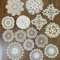 Lot of Vintage Hand Made Crocheted Doilies 15 Pieces Cream Off White Ecru