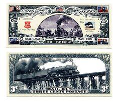 MAIL TRAIN  RAILROAD   THREE CENTS     DOLLAR  BILL