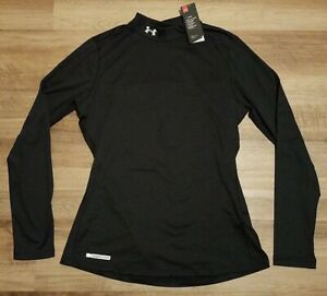 Under Armour Womens ColdGear Fitted Long Sleeve Mock Black Size XL