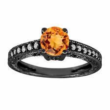 Vintage Citrine Engagement Ring, 1.04 Carat 14K Black Gold Certified Handmade