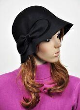 JM56 Elegant Bow 100% Wool Women's Winter Dress Brim Hat Cap Bucket Fedora BLACK