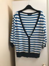Dorothy Perkins Blue And White Striped Cardigan Size 12 Navy Blue Trim