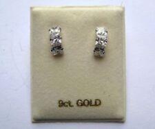 Pendientes de joyería transparentes de oro blanco de 9 quilates