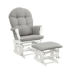 Windsor Glider and Ottoman White w/ Gray Cushion Angel Line Nursery Furniture