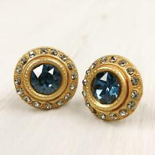 NWT La Vie Parisienne Catherine Popesco Crystals Stud Earrings in Montana Blue