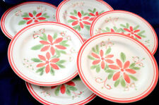 Mayfair & Jackson Dinner Plate x 6 Poinsettia Pattern Christmas 10.5in Holiday