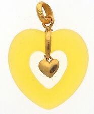 New 22K Yellow Gold Heart Pendant With Semi Precious Heart Stone Valentine Gift