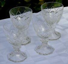 Val Saint Lambert - Lot de 4 verres à vin cuit en cristal taillé, modèle Yale