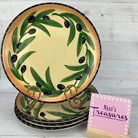 Clay Art Stonelite OLIVA RUSTICA Stoneware Hand Paint Olives Dinner Plates Set 4