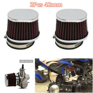 High Flow 42mm Inlet Motorcycle Cold Air Cleaner Intake Filter Washable Reusable