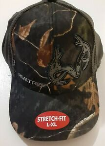 Men's Realtree Black Camo, Antlers Logo On Front Size L-XL Stretch-Fit Ball Cap
