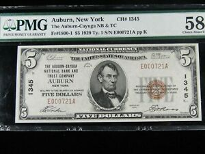 "1929 $5.00 Auburn, NY National Currency Note Certified PMG AU 58 ""Finest Known"""