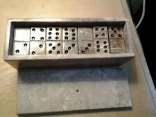 Alabaster Marble Stone Domino Set In Box W/Cover