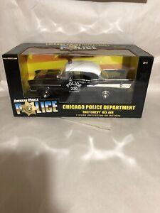 1957 Chevrolet Belair Black Chicago Police 1:18 Ertl American Muscle 33050