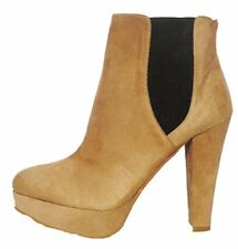 Womens New Forever 21 Beige Faux Suede Platform Formal Casual Ankle Boots  UK 8