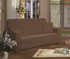 """New Elegant Comfort Jersey Knit Love Seat Cover Slipcover 70"""" x 120"""" - Brown"""