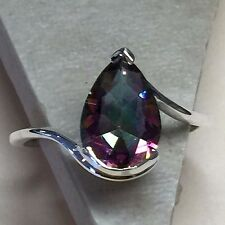 Gorgeous 2.5ct Mystic Topaz 925 Solid Sterling Silver Pear Ring 5.75