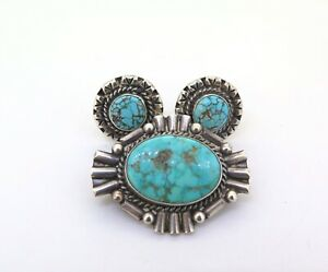 .Handmade Sterling Silver Spiderweb Turquoise Brooch & Clip-on Earring Set 19.3g