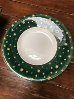 """GALAXY by VARM GREEN 16"""" ROUND SHALLOW SERVING BOWL OR PLATTER W/ 18K GOLD STARS"""