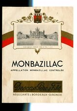 Vintage Label MONBAZILLAC Descas Pere & Fils Bordeaux wine