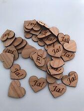50 Streudeko Holz Herz Tischdeko JA! Ja !  Spruch Hochzeit Dekoherzen Streuteile