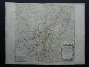 1790 Vaugondy Atlas Universel map  RHINE - GERMANY - Cercles Haut et Bas Rhin