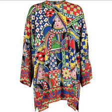 £975 DOLCE & GABBANA Designer Silk Multicoloured Abstract Blouse -Made in Italy