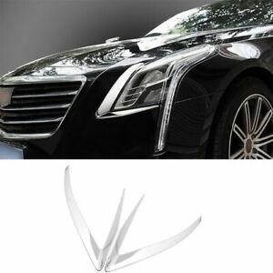 FOR Cadillac CT6 2016-2018 steel Chrome Front Head Light Lamp strip trim 2pcs