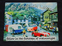 Picture Plaque The English Lakes Metal Sign With MG Car VW Camper Van Sheep Dog