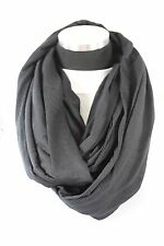 B85 Seamless Soft Black Infinity Scarf Raw Edge Fabric Stretch