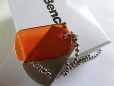 BENCH MEN'S MAN'S BRUSHED STEEL & ORANGE DOG TAG 58 CM BALL CHAIN NECKLACE box