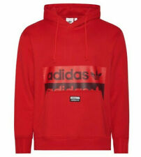 Adidas Men's Reveal Your Voice Pullover Hoodie Cotton Red Black Size M NEW!