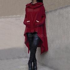Women Hoodie Dress Long Hooded Tops Sweatshirt Sweater Asymmetric Coat Plus C8S2