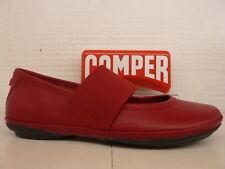 Camper 21595 095 derecho Nina Correa Elástica de Cuero Rojo Informal Zapato Bomba Plana