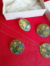 VINTAGE1950's dime store childrens jewerly pins and necklace(new) metal or tin