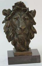 Large African Male Lion Bust Bronze Marble Sculpture Statue Decor Figure Decor