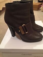Calvin Klein Woman's Halia Waxy TMB Leather Graphite Boots size 7.5 with box