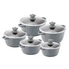 Nessa Granite Casserole Set 5pc Stockpots with lids 20-32cm, Grey