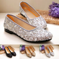 Womens Slip On Sequins Shoes Ladies Flat Bridal Party Pumps Loafers Size 6.5-9