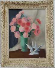 Vintage Mid Century Floral Still Life Oil Painting Canvas Board Signed Behler