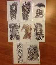 8 Sheets Large Waterproof Skull Fake Body Temporary Tattoo Stickers Removable