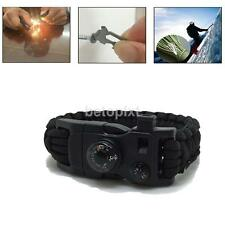 15in1 Survival Paracord Braclet Fire Starter Whistle Buckle Thermometer Black