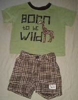 Koala Kids Infant Boy 3-6 M 2 Piece Outfit T-Shirt Plaid Shorts Born To Be Wild