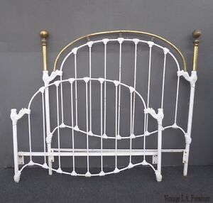 Vintage French Shabby Chic Cast Iron White Full Bed Frame Queen Headboard