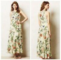 Anthro Maeve Womens Dress Tiered Maravilla Maxi Long Green Motif Floral 2
