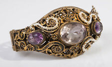 Heavy Antique C1900 Silver Gilt Amethyst & Seed Pearl Austro-Hungarian Bangle