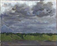 """Russischer Realist Expressionist Öl Leinwand """"Wolken""""  55 x 44 cm"""