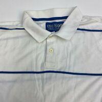 Old Navy Polo Shirt Men's Size 2XL Short Sleeve White Blue Striped 100% Cotton