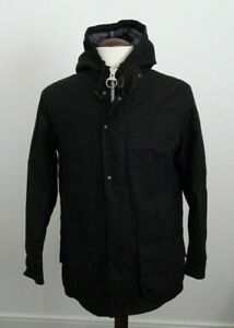 Mens Barbour Hooded Black Waxed Jacket with Thermal Liner VGC - Size Small